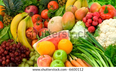 Vegetables and Fruits - stock photo