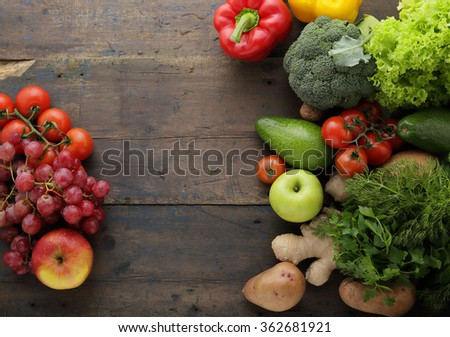 vegetables and fruits background, food top view - stock photo