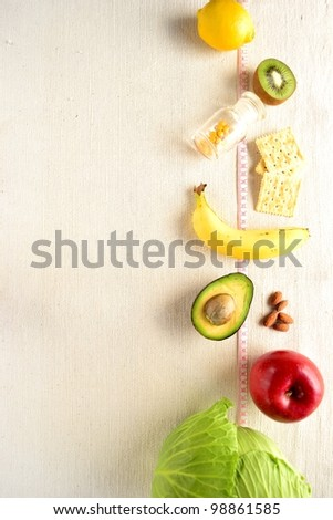 Vegetables and fruits for diet - stock photo