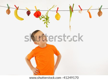 Vegetables  and Fruits Hanging - stock photo