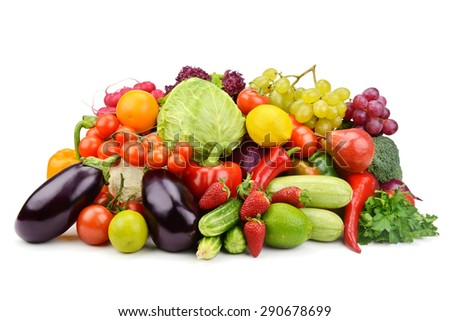 vegetables and fruits isolated on white background - stock photo
