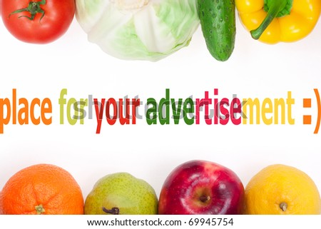 vegetables and fruits, object on white background