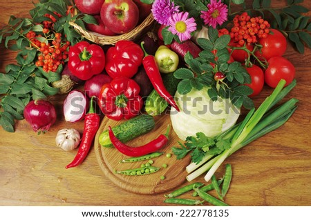 Vegetables and fruits on the table  - stock photo