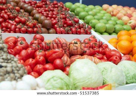 Vegetables and groceries in a supermarket - stock photo