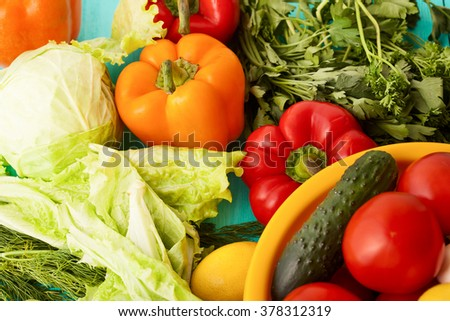 Vegetables and ingredients for cooking. Top view and selective focus - stock photo