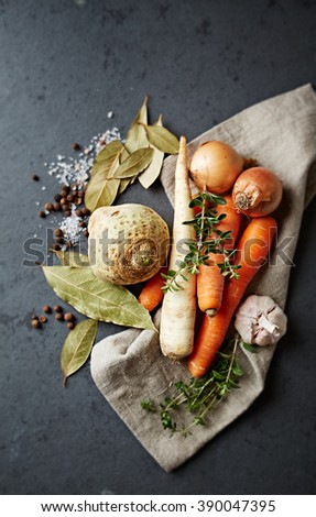 Vegetables and spices for vegetable stock - stock photo