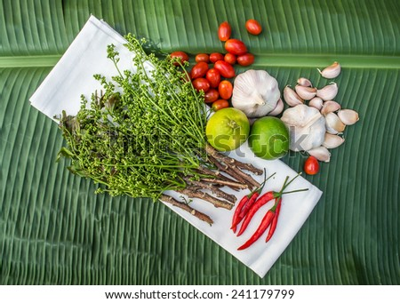 Vegetables and Thai spices - stock photo