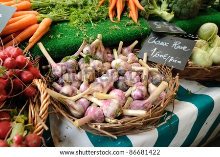 Vegetables are for sale in a farmers market in Paris including garlic, carrots, and radishes. Hand written price signs in French with euro prices are visible. - stock photo