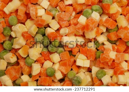 Vegetables background, Frozen mixed vegetables with ice - stock photo
