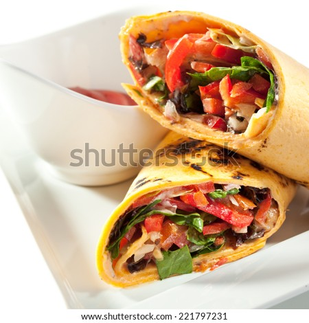 Vegetables Burrito with Spicy Sauce - stock photo