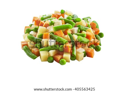 vegetables, carrots, potatoes, onion and, beans chopped and slice - stock photo