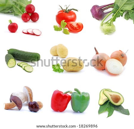 Vegetables collection isolated on the white background.