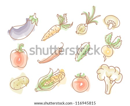 Vegetables colourful doodles set - stock photo