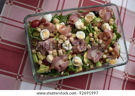 vegetables, eggs and meat on the plate - stock photo