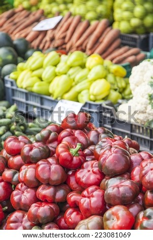 Vegetables exhibited for sale at a fair for agricultural products - stock photo