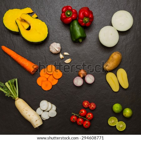 Vegetables for cooking and healthy on black background. - stock photo