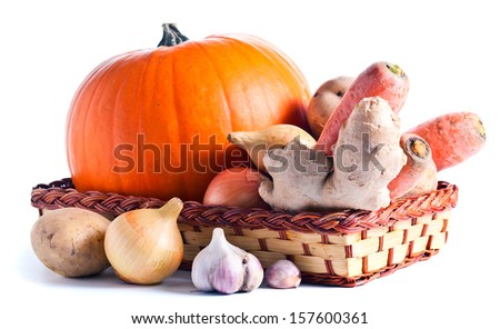 Vegetables for preparation of pumpkin soup , white background - stock photo