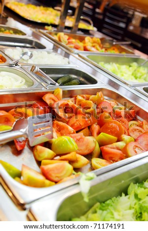 Vegetables for salads at restaurant - stock photo