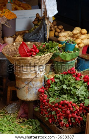 Vegetables for Sale in a market in Chiapas, Mexico - stock photo