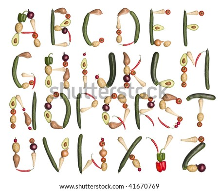 Vegetables forming the alphabet isolated on a white background