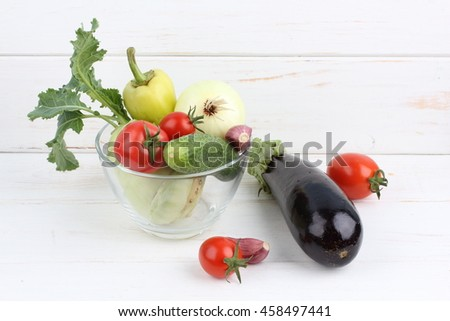 Vegetables. Fresh Bio Vegetable. Over white wooden background
