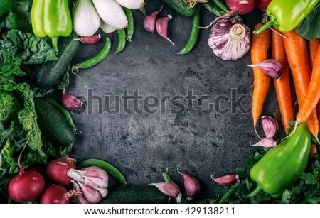 Vegetables. Fresh vegetables. Colorful vegetables background. Healthy vegetable studio photo. Assortment of fresh vegetables close up. - stock photo