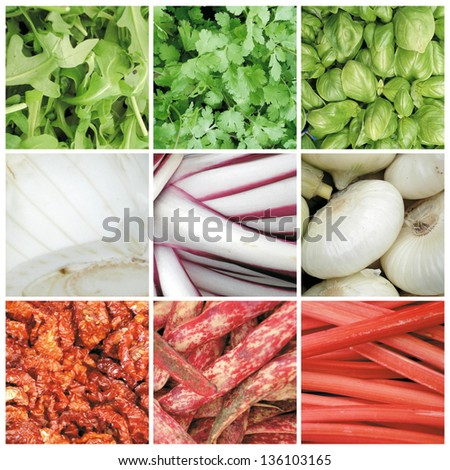 Vegetables, fruit, herbs, dried tomatoes, chestnuts from the market Campo de Fiori in Rome. Collage - stock photo
