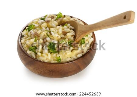 vegetables garnish with rice, mushrooms broccoli, cheese  - stock photo