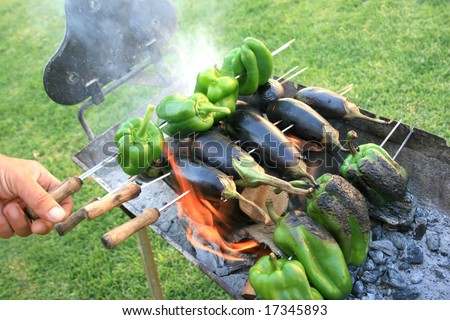 Vegetables grilled on the fire.