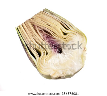 vegetables, Half Artichoke isolated on white  - stock photo