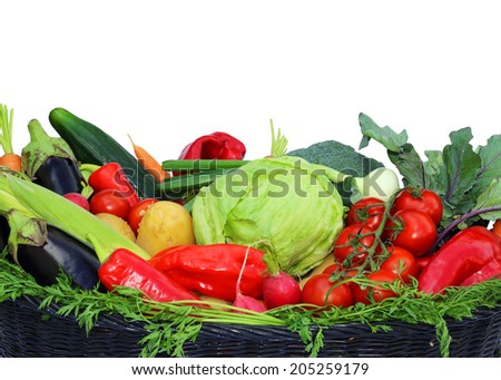 Vegetables harvest, on white background,  - stock photo