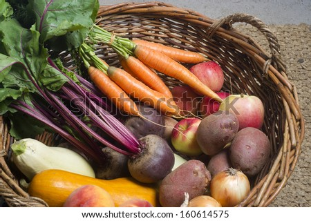 vegetables in a basket - stock photo
