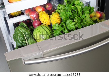 Vegetables in a fridge. - stock photo