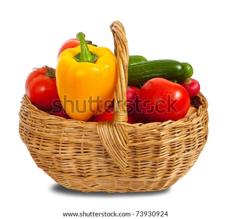vegetables in basket. Isolated on white background with  clipping path - stock photo