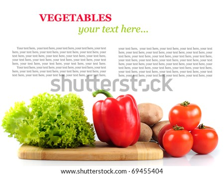 Vegetables in kitchen for salad, isolated on white. With copy text