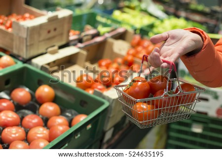 Vegetables in supermarket. Buying tomatoes in shop. Small basket.