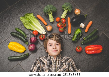 vegetables in the kitchen - vegetarian healthy people - stock photo