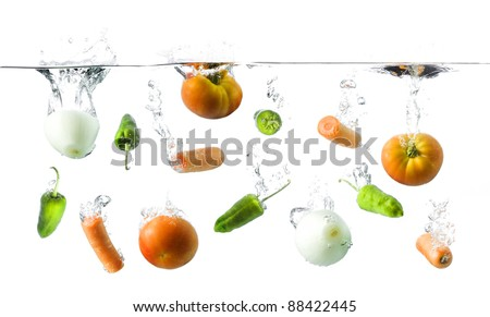 vegetables in water - stock photo