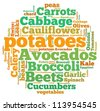 Vegetables info-text graphics and arrangement concept on white background (word cloud) - stock vector