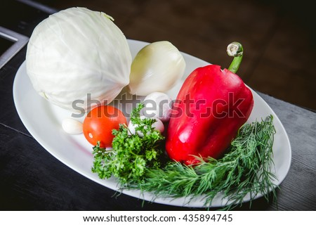 vegetables, ingredients for cooking on the kitchen table food