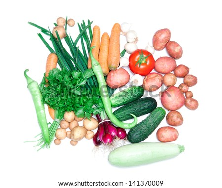vegetables iosolated on white - stock photo