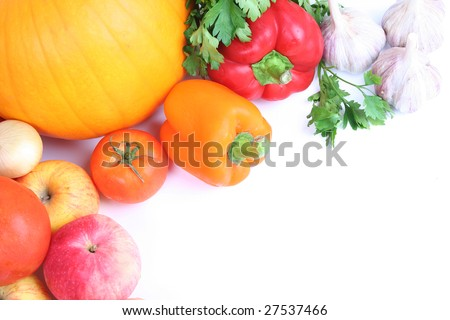 Vegetables isolated on white - stock photo