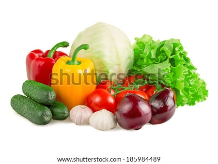 Vegetables isolated on white background - stock photo