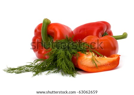 vegetables isolated on white background close up - stock photo
