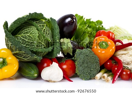 Vegetables isolated over white - stock photo