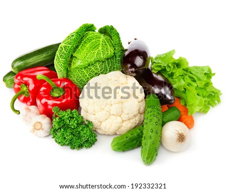 vegetables Isolated over white background  - stock photo