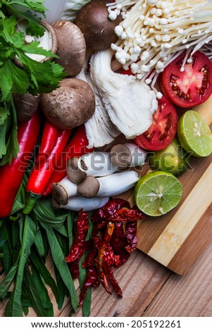 Vegetables of Ingredients of Thai spicy food - stock photo