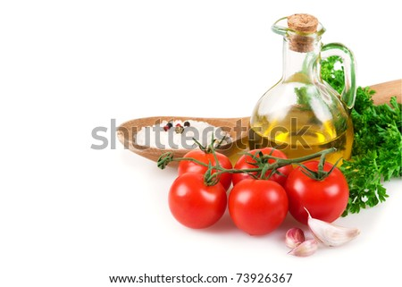 Vegetables, olive oil and spices  isolated on white background - stock photo