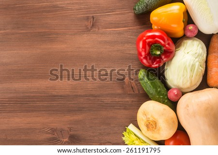 Vegetables on a wooden background   - stock photo
