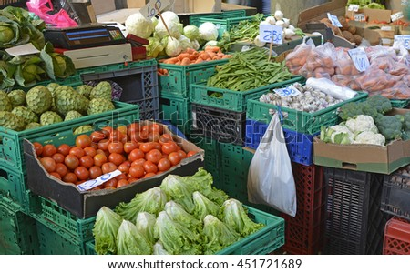 Vegetables on market stall in indoor market at Funchal, Madeira, Portugal